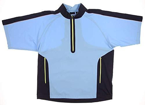 FootJoy New Mens Sport Short Sleeve Windshirt Light Large L Blue/Navy/Lime 32641