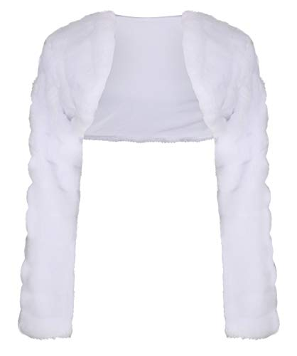 OssaFashion-BridalWear Flower Girls Wedding Communion Faux Fur Bolero Jacket Shrug Long Sleeve 2-13yrs by OssaFashion-BridalWear