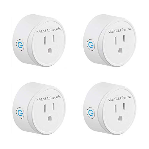 Smart plug, SMALLElectric Mini Wifi Smart Outlet Work With Alexa, Google Home & IFTTT, No Hub Required, Remote Control your home appliances from Anywhere, (4 pack Socket)