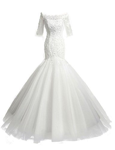 HarveyBridal Half Sleeves Mermaid Wedding Dresses Lace Bridal Gowns White