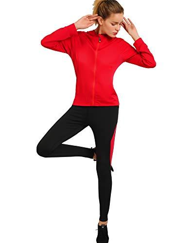 Activewear Sets for Women-Track Leggings Pants Hoodie Jackets 2 Piece Set Tracksuits Yoga Outfit Jogging Workout Set Gymwear Burgundy (Burgundy Workout Jacket)