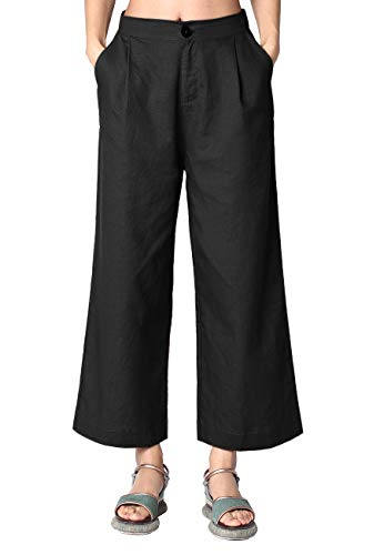 (Ecupper Womens Linen Cotton Pants Cropped Wide Leg Casual Solid Loose Trousers 23
