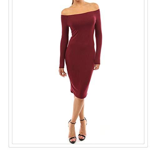 Otprdirect Couleur Unie des Femmes Un Collier de Mot Hors paule Jupe Manches Longues Sexy Mince Robe lgante (Color : Gray, Size : L) Red