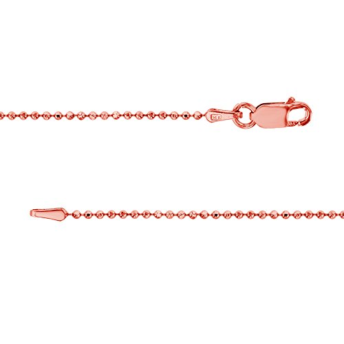 14k Rose Gold Diamond-cut 1mm Bead Chain by Decadence