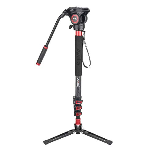 Avella CD324 Carbon Fiber Video Monopod Kit, with Fluid Head and Removable feet, 71 Inch Max Load 13.2 LB for DSLR and Video Camera
