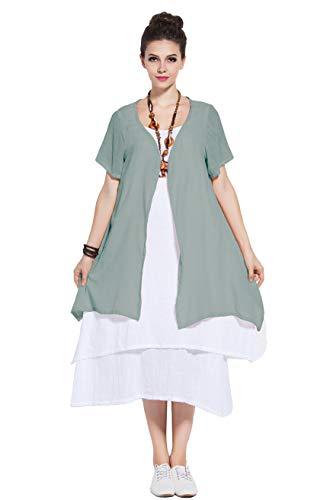 Anysize Soft Linen&Cotton Two-Piece Dress Spring Summer Plus Size Dress Y96