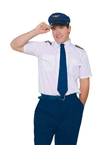 Forum Novelties Men's Co-Pilot Airline Pilot Uniform Costume, White, Standard -