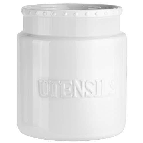 Benchmark DesignWare - Kitchen Utensil Holder - Large White Cream Ceramic Utensil Crock Farmhouse Modern Style (White Letters)