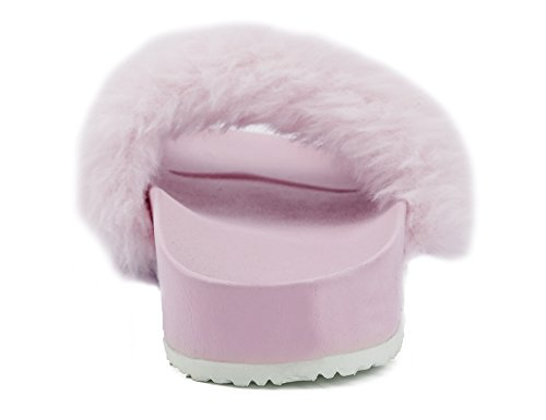 MaxMuxun Fuzzy Outdoor Shoes Slippers Pink Indoor Mules Women Slide rWwAYqr1