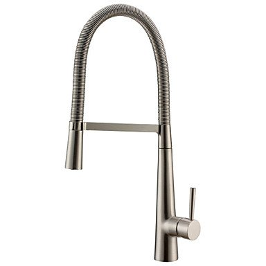 Contemporary Standard Spout Vessel Pullout SpraySingle Handle One Hole forNickel BrushedKitchen by ZHENG