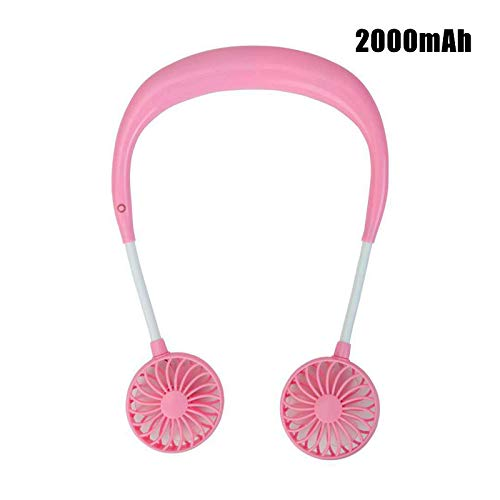 Portable USB Battery Rechargeable Mini Fan - Headphone Design Wearable Neckband Fan Sports Fan Cooler Fan with 3 Speed Adjustable 360 Degree Rotation for Indoor Outdoor (Pink)