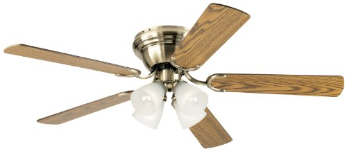 Antique Brass Four (Westinghouse 7871400 Contempra IV Four-Light 52-Inch Five-Blade Indoor Ceiling Fan, Antique Brass with Frosted Ribbed-Glass)