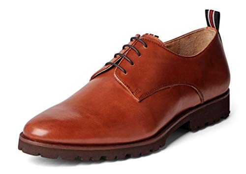 Carlos Santana Power LITE Men's Oxford Lightweight and Flexible Dress Shoe in Lug Sole for Everyday Style and Comfort (14 D US, Cognac) ()