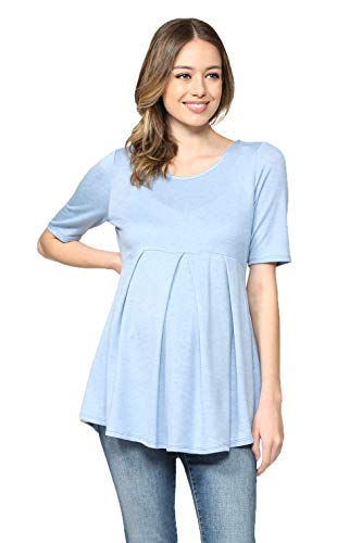 (Women's Round Neck Peplum Maternity Top with Front Pleat (Chambray Solid, XL))