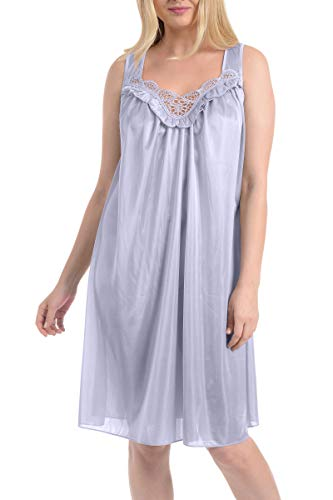 Ezi Women's Satin Silk Sleeveless Lingerie Nightgowns,Lavender,L