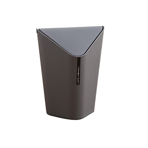 Kitchen Waste Bins Creative Triangle Plastic Trash Bin Bedroom Trash Can wiht Lid-9.8 X 9.8 X 14.2 Inch (Grey)