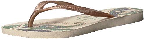 Havaianas Women's Slim Organic Sandal,Beige, 37/38 BR (7-8 M US) (Flip Slim Flop Sandals)