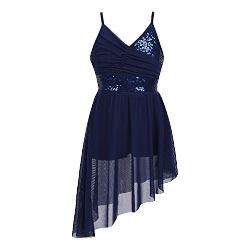 - TiaoBug Girls Spaghetti Chiffon Ballet Dance Dress Empire Waist Gymnastics Leotard Overlay Lyrical Ballerina Costume (8-10, Navy Blue V-Neck Sequined Irregular Hem)
