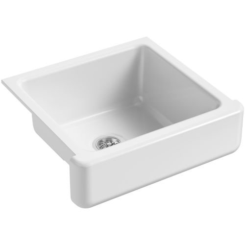 2in Depth Single Bowl Sink - KOHLER K-5664-0 Whitehaven Self-Trimming Undermount Single-Bowl Kitchen Sink with Short Apron, 23-1/2 x 21-9/16 x 9-5/8-Inch, White