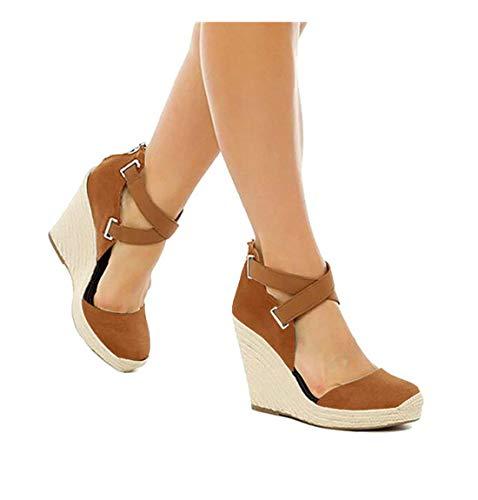 PiePieBuy Womens Espadrille Wedges Ankle Strap Closed Toe Heeled Sandals (6 B(M) US, Brown) ()