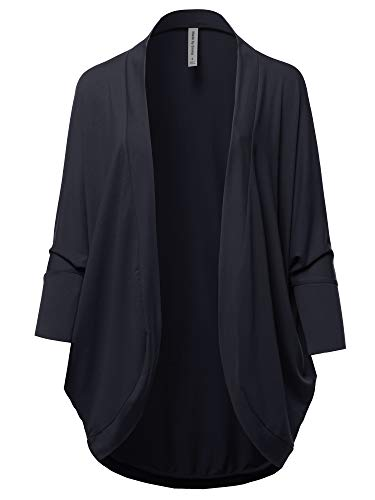 Premium 3/4 Sleeve Loose Cocoon Open Front Pocket Cardigan Navy S ()