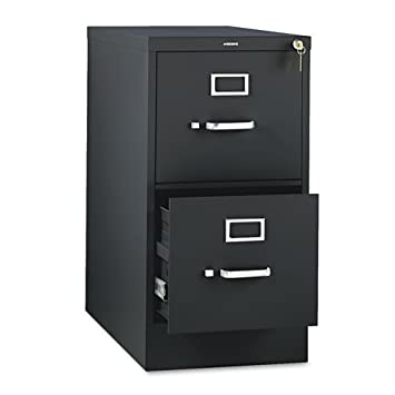 HON 2-Drawer Office Filing Cabinet - 310 Series Full-Suspension Letter File Cabinet - 26.5D - Black (H312)