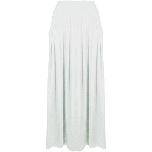Desire Taille Clothing jupe lastique pour Poches Maxi femme Blanc Uni pliss xwt7Y1qU7