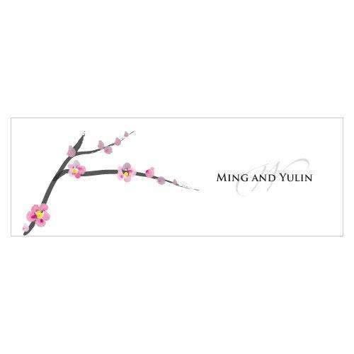 Cherry Blossom Small Rectangular Tag (Quantity of 20)