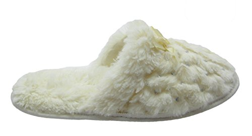Fashion Satin Ribbon Slippers w Classy Creme Furry Sequins Blue amp; raXqw1Or