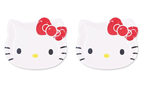 Finex Set of 2 - White Hello Kitty Plate Set Kids Dinner Meal Dishes Feeding set for toddlers Microwave Dishwasher safe Random Pattern