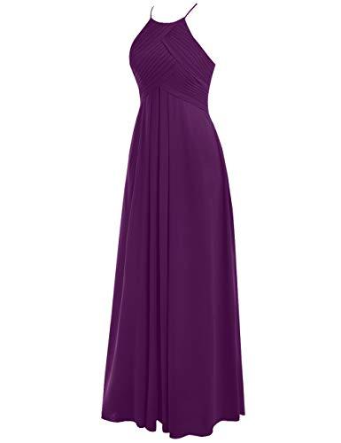 48W Chiffon Linie Neckholder Tintenblau Ballkleider A Lang Hochzeitskleider Abendkleider Rückenfrei Brautjungfernkleider ZHv6AqH