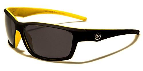 Polarized Matte PlaNitrogen Sports Wrap Rectangular Sunglasses (Yellow, Smoke)