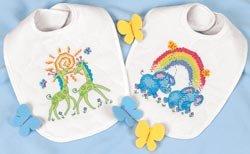 Baby Hugs Noah'S Ark Bibs Stamped Cross Stitch Kit-9x14 Set