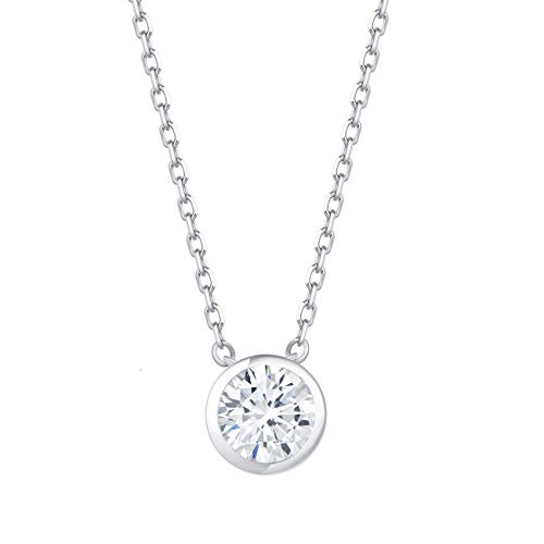 Carleen 18K White Gold Plated 925 Sterling Silver Bezel Setting Round Solitaire CZ Cubic Zirconia Dainty Pendant Necklace for Women Girls with 15.75