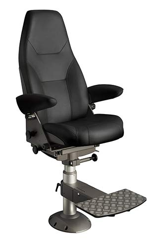 MarinersWarehouse NorSap 1000 Helm Chair, Seat Height 630mm-770mm Gas Dampened Adj Column, Flange Base, Charcoal ()