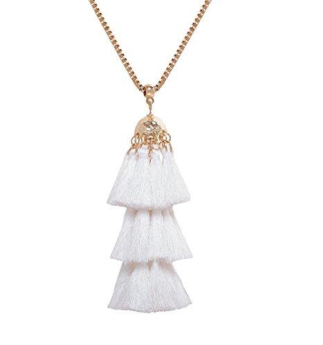 Tassel Strand Necklace (ELEARD Bell Pedant Tiered Tassel Necklace Box Chain Necklace (White))