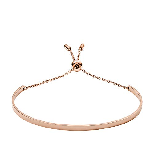 (Fossil Women's Curved Rose Gold-Tone Stainless Steel Bracelet, One Size)