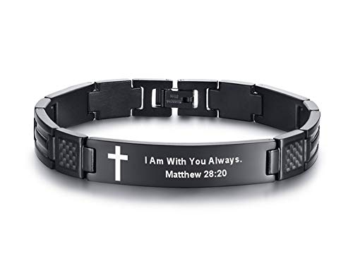 I Am With You Always Engraved Stainless Steel Christian Bible Verse Cross Carbon Fiber Link Bracelet for Men ()