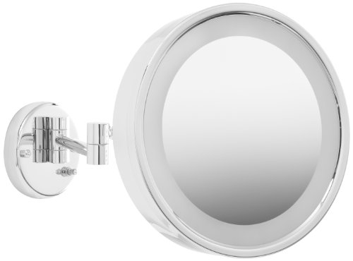 Jerdon HL7CF 9.75-Inch Lighted Wall Mount Makeup Mirror with 3x Magnification, Chrome Finish by Jerdon
