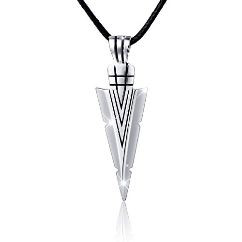 Flyow Retro Stil 925 Sterling Silber Dreieck Anhänger Halskette Herren 60 cm Leder Kette Schmuck Geschenk für Männer oder Freund, mit Schmuckbox
