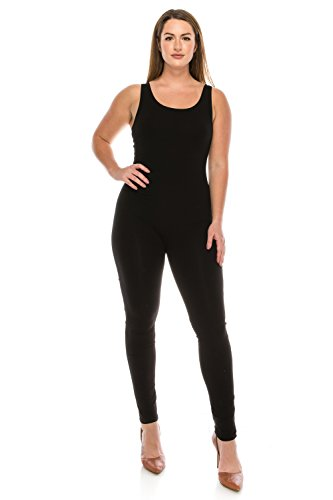 The Classic Women's Stretch Cotton Sleeveless One Piece Unitard Jumpsuit Playsuit in Black - 2XL]()
