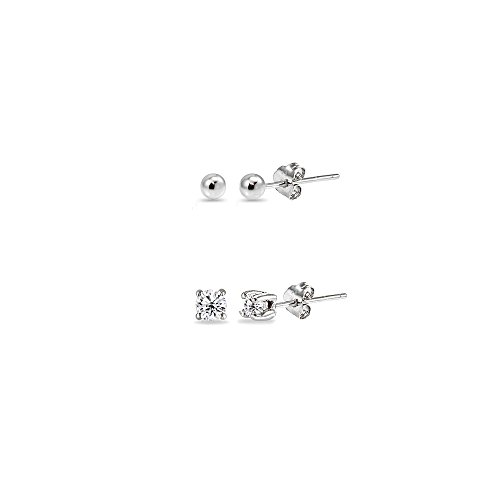 (2 Pairs Sterling Silver 2mm Round CZ and Ball Bead Lightweight Unisex Cartilage Earrings Set)