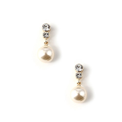 Gold Cream Pearl 23mm Dangle Earring (Pearl Cream Earrings)