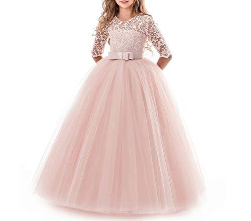Party Dress Summer Kids Dresses for Girls Children Costume Elegant Princess Dress,Pink3,13]()