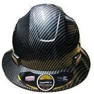 Cool Air Carbon Fiber Hard Hat Black 4 Point Suspension Design Cooling Stay NEW