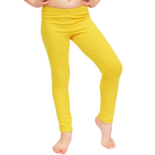 Stretch is Comfort Girl's Cotton Footless Leggings Yellow X Large -