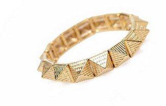 (Vintage Copper Punk Rivet Pyramid Stretch Bracelet)