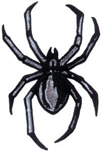 Creepy Black & Grey Black Widow Spider - Embroidered Iron On or Sew On Patch ()