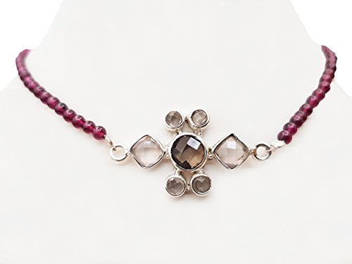 Smoky Quartz & Rose Quartz Silver Pendant with Pink Garnet Beads Choker Necklace with 925 Silver Findings 14