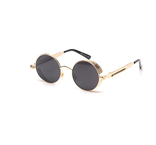 (Retro round frame sunglasses reflective sunglasses for men and women personality (Gold frame gray sheet))